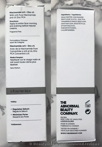 Deciem The Ordinary Niacinamide 10% + Zinc 1% Serum