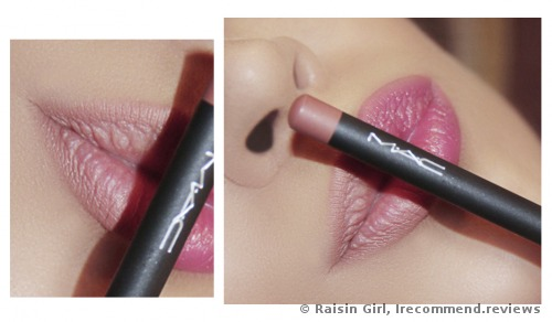 on the left side of my lips the lip pencil is applied along the outline, on the right the lip pencil and lipstick